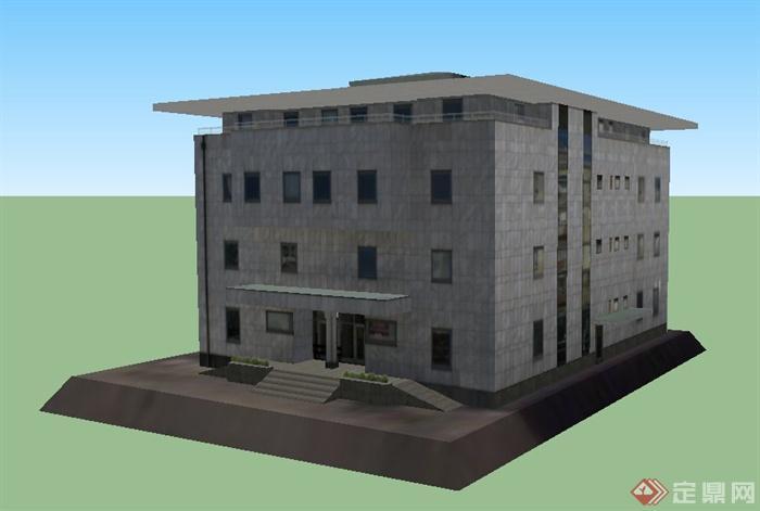 现代酒吧4层办公楼建筑设计SU风格店面模型装修设计图片