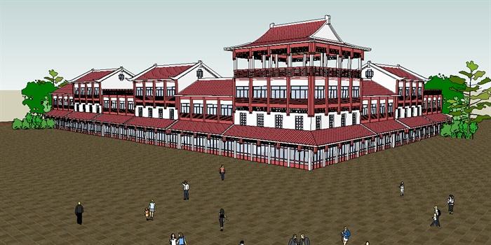 仿古沿街商业楼建筑设计su模型