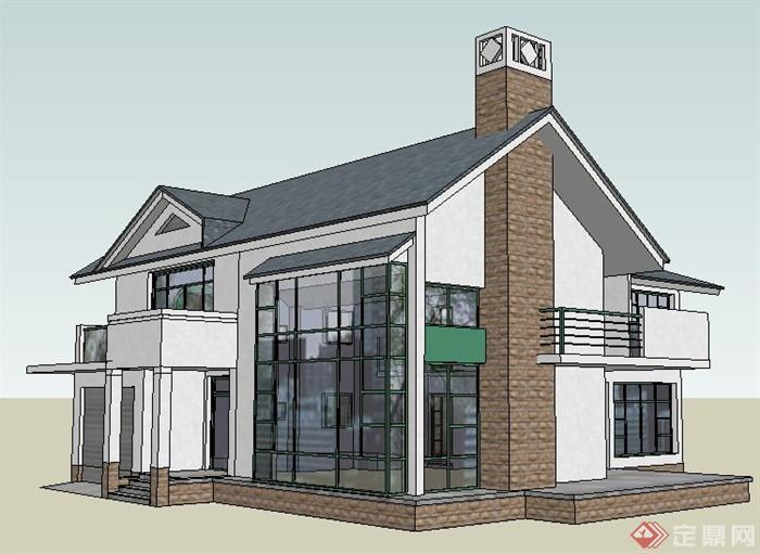 现代中式风格某别墅住宅建筑设计su模型