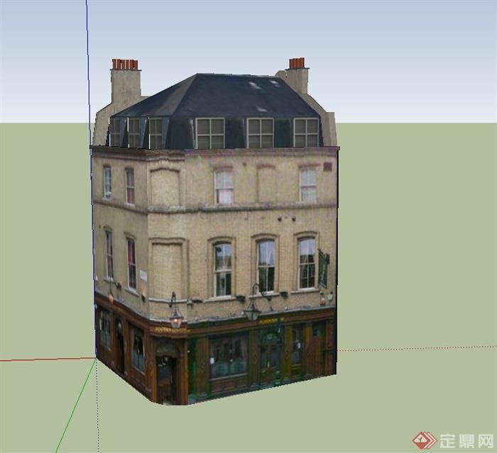 三层商住房建筑设计su模型
