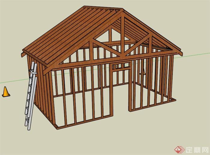 木棚房建筑设计su模型(1)