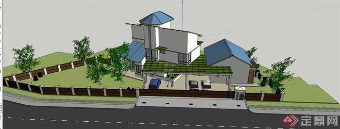 山地欧式别墅建筑设计su模型(2)