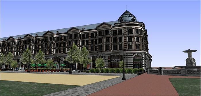 欧式商业街建筑景观设计su模型