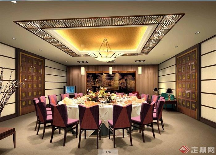 现代中式饭店室内设计方案图(含效果图)