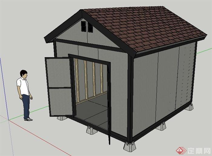 一间小仓库建筑设计su模型
