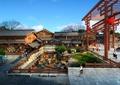 旅游景觀,商業環境,下沉式廣場,木欄桿,廊架