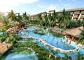 度假区,旅游景观,温泉池,水景,木平台,凉亭