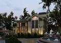 文體中心,會所,噴泉水景,遮陽傘,路燈
