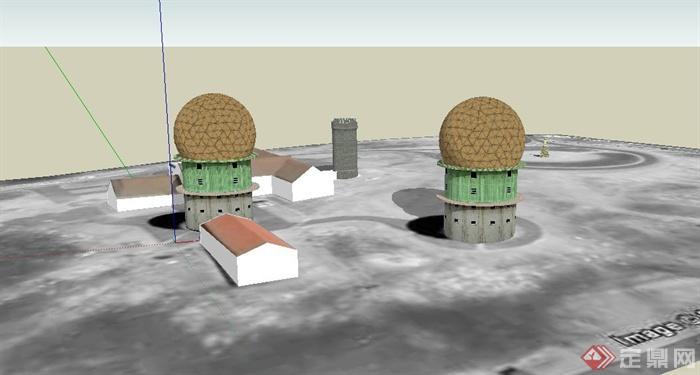 某欧式多个景观塔建筑设计su模型