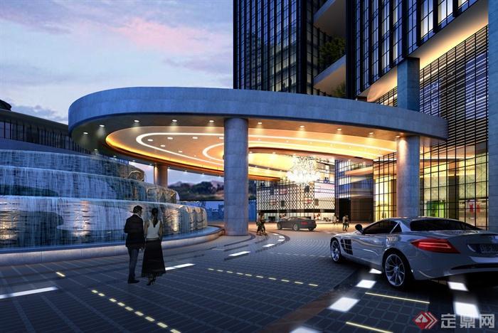 某酒店入口景观设计效果图-酒店瀑布水景门庭酒店景观