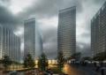 办公区,办公建筑,雨景