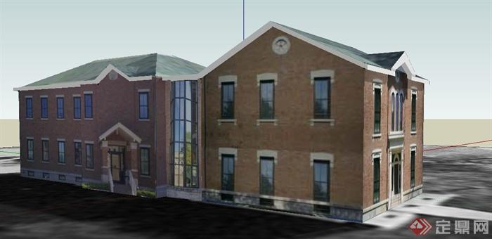 欧式二层游客中心建筑设计su模型
