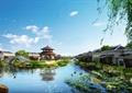 旅游景观,凉亭,园桥,河道,古建