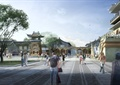 文化城,旅游区,旅游建筑,城楼,树池