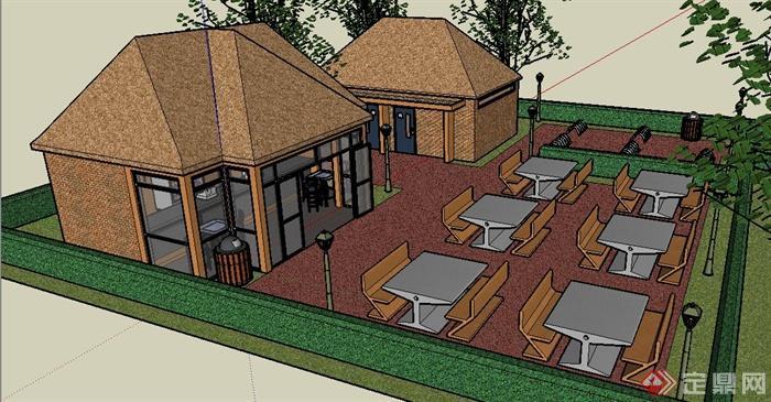 现代小餐馆建筑景观设计su模型