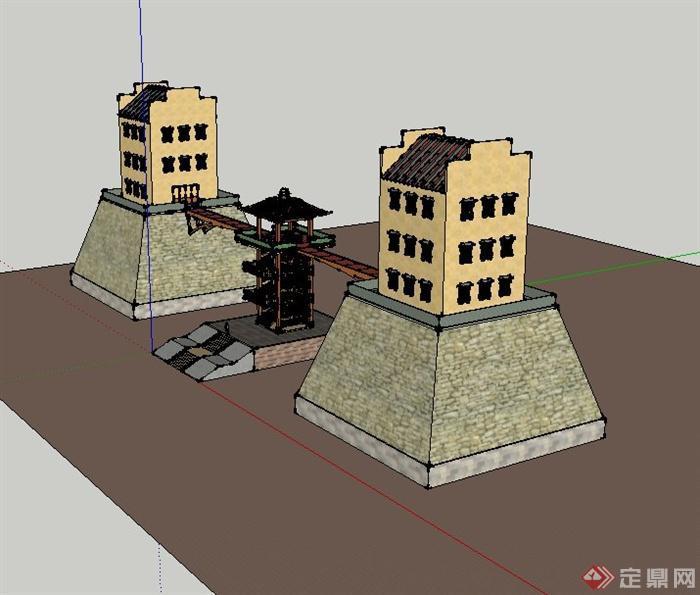某景观节点三层塔楼建筑设计su模型(3)