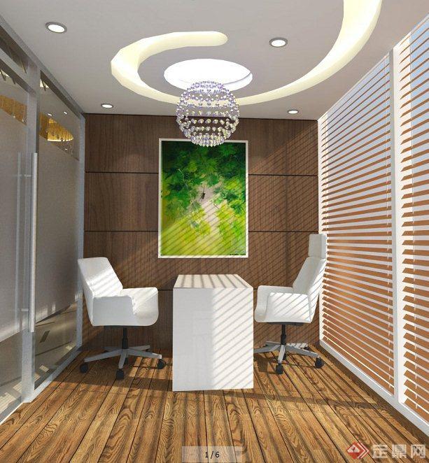 现代美容院大堂室内设计su模型(含效果图)