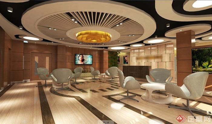 现代简约美容院大堂室内设计su模型(含效果图)