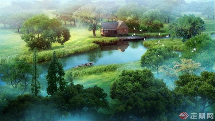 中式风格山间小屋建筑景观psd效果图