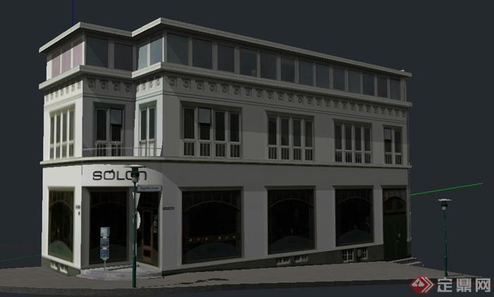 某三层商铺建筑设计su模型