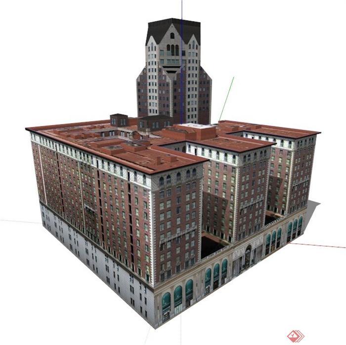 欧式商住楼建筑设计su模型2