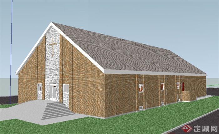 某现代单层礼堂建筑设计su模型