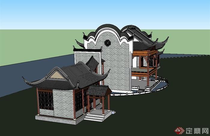某古典中式看台建筑设计su模型图片