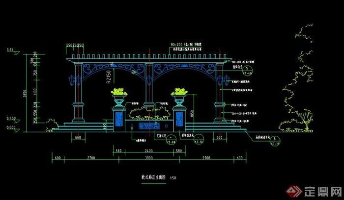 某欧式景观节点廊架设计cad施工图