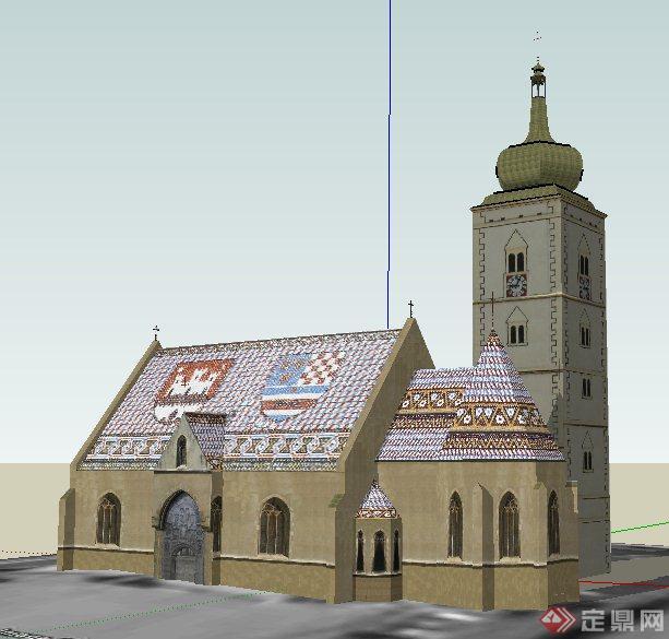欧式风格礼堂教堂建筑设计su模型