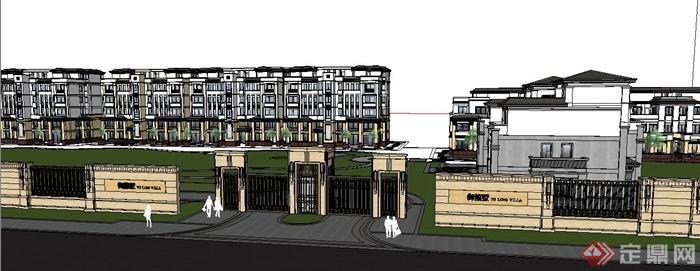 多棟現代中式風格住宅建筑設計su模型(3)