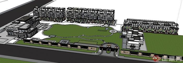 多棟現代中式風格住宅建筑設計su模型(4)
