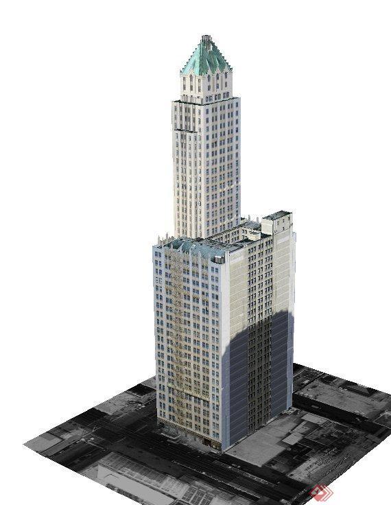 某欧式高层酒店建筑设计su模型