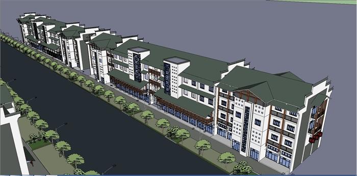 新中式的商业街建筑景观设计su模型图片