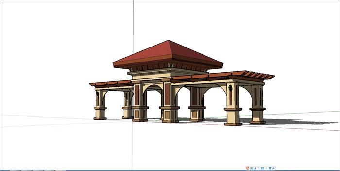 欧式风格廊架大门设计su模型