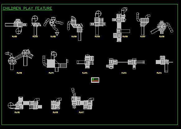 多种儿童游乐设施设计的cad平面图