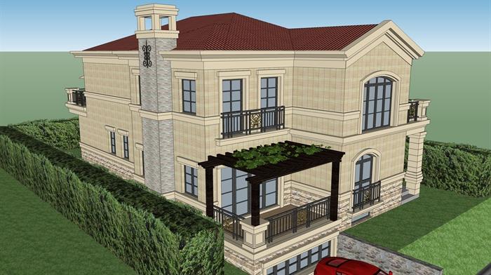 三层别墅3d设计图纸
