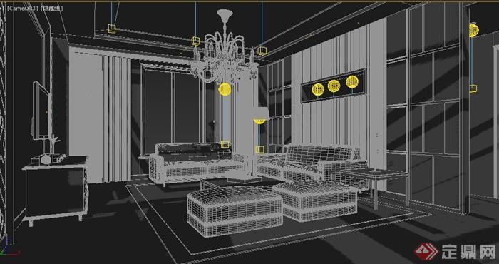 现代家装住宅客餐厅室内设计3dmax模型