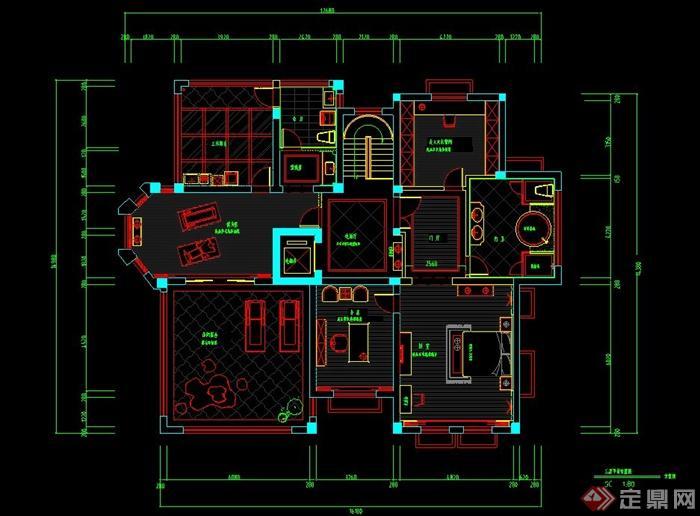 某三层别墅室内装修设计CAD施工图