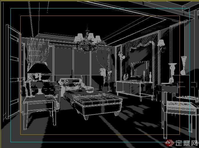 简约欧式住宅客餐厅室内设计3dmax模型
