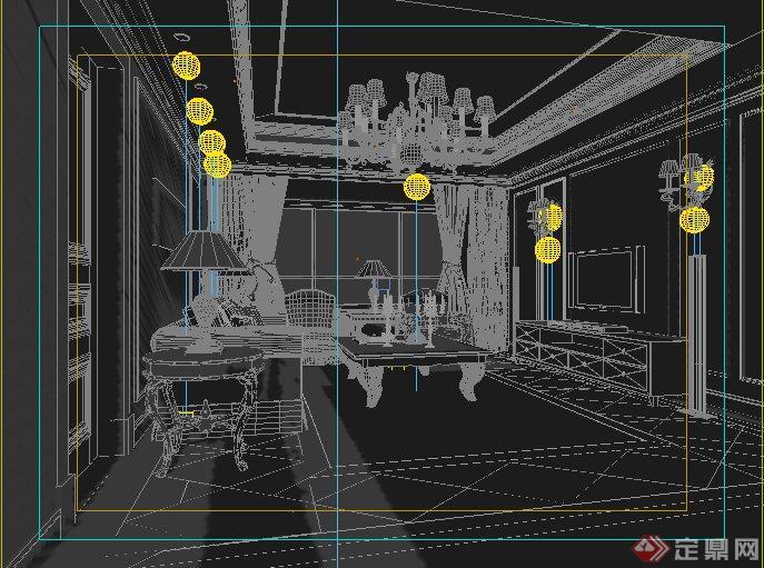 欧式风格某家装客厅室内设计3dmax模型