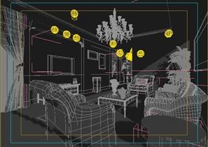 复式住宅客厅室内装修3dmax模型