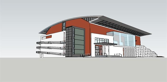 现代风格多层体育馆建筑设计su模型