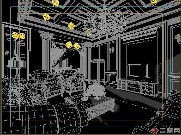 欧式风格别墅客厅室内装修3dmax模型