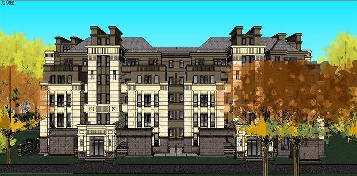 欧式多层住宅楼建筑设计su模型