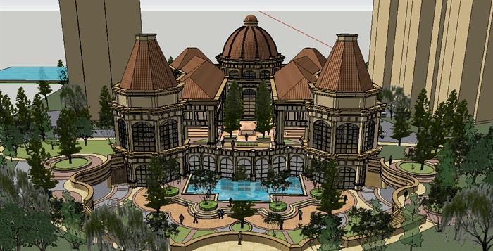 小区会所建筑景观设计su模型,建筑造型独特,景观以水景为主,模型制作
