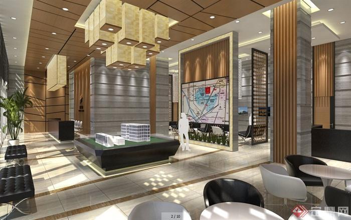 现代风格售楼处大厅室内设计su模型 含三套方案及效果图高清图片