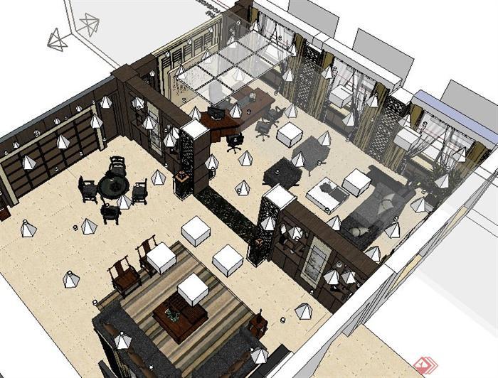 現代中式風格經理辦公室室內設計su模型(含效果)
