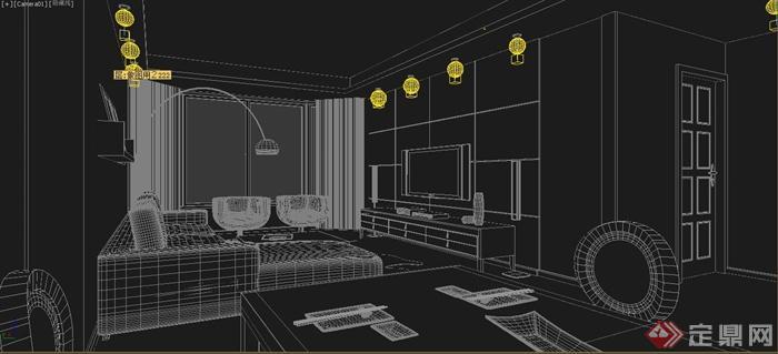 现代住宅室内客厅设计3dmax模型