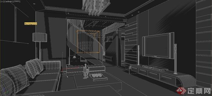 某现代复试住宅室内客厅设计3dmax模型