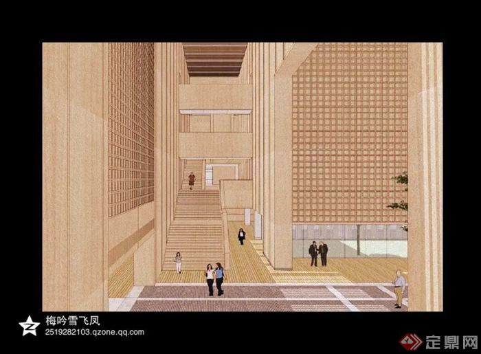 建筑景观设计su模型截图-教学楼楼梯-设计师图库
